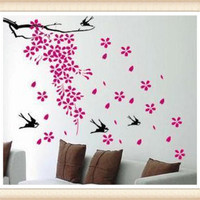 Fallen petal swallows Vinyl Art Mural Home Room Decal Decor Wall Stickers