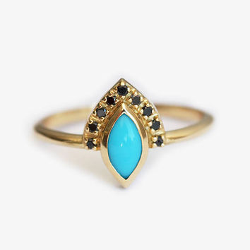 Turquoise Ring, Gold Turquoise Ring, Turquoise Diamond Ring, Turquoise Engagement Ring, Marquise Engagement Ring, Black diamond Ring
