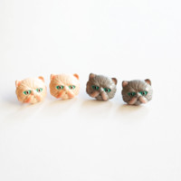 Persian Cat post statement earrings in 2 colors