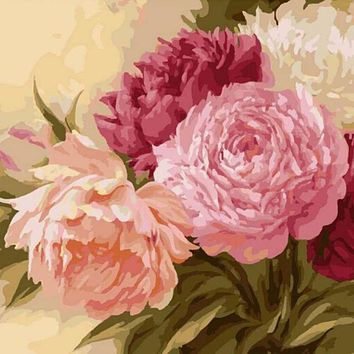 40*50CM Flowers Oil Painting By Numbers Wall Pictures Coloring DIY Peony Canvas Painting Wall Art Home Decor
