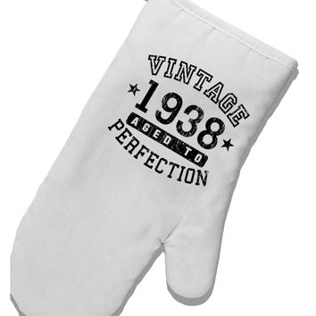 80th Birthday Vintage Birth Year 1938 White Printed Fabric Oven Mitt by TooLoud