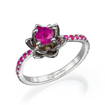 Ruby Engagement Ring, Flower Engagement Ring, Wedding Band, Gift, Band Ring, Twist Ring, Statement ring, flower band, Gem Ring, Floral Ring