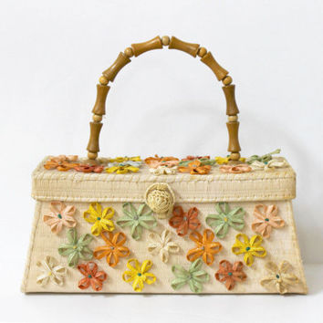 Vintage 50's Straw Handbag with Pastel Flowers / Spring Summer - Garden Party - Easter