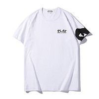 Play Summer New Fashion Letter Love Heart Eye Print Women Men Top T-Shirt White
