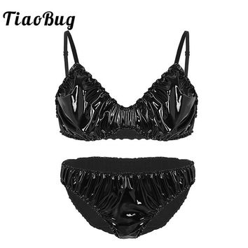 TiaoBug Men Wetlook Faux Leather Ruffle Crossdressing Sissy Lingerie Set Spaghetti Straps Hot Sexy Men Bra Top Briefs Underwear