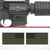 2X American Flag Olive Green Sticker Vinyl Decal AR-15 Lower Tactical Police