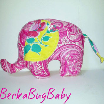 Elephant Stuffed Animal, Softie, Plushie, Baby Stuffed Toy, Yellow and Pink Floral, Baby Girl, Baby Shower Gift,