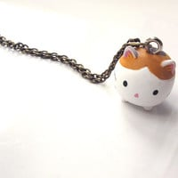 Kawaii Japan Brown Neko Cat. Cute expressionless emotion Kitten Cat. Pendant Necklace