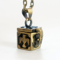 Tiny Box Locket - Vintage Style Antiqued Brass Box Locket Necklace - LN031