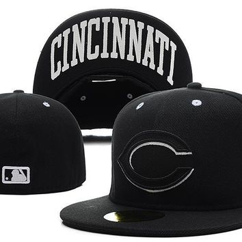 PEAPON Cincinnati Reds New Era MLB Authentic Collection 59FIFTY Hat Black