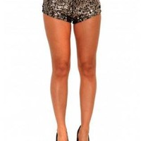 Gold Sequin Mini Shorts with Side Zipper