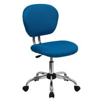 Turquoise Blue Mesh Mid-Back Armless Desk Chair with Casters