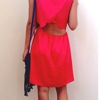 Red Dress with Scalloped Back Detail - Lotus Boutique