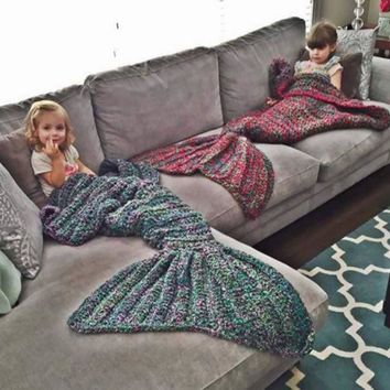 Knitted Mermaid Tail Blanket Handmade Crochet Mermaid Blanket Kids Throw Bed Wrap Super Soft Sleeping Bed +Christmas Gift -Necklace