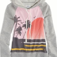 AEO Women's Tropic Graphic Hooded Sweatshirt (Medium Heather Grey)