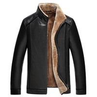 Winter Men's Genuine Black Sheepskin Jacket with Wool Collar