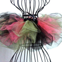 Black, green, and coral tutu for infant baby toddler