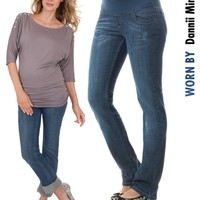 Blue Wash Straight Leg Premium Maternity Jeans