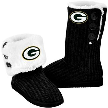 Green Bay Packers Ladies Knit High End Button Boot Slippers - Black