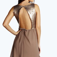 Jenna Open Back Sequin Top Skater Dress