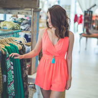 Neon Coral Party Romper