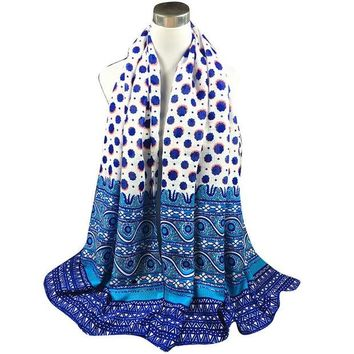 DCCKJG2 Autumn Winter National StyleTwill Polka Dot Long Scarf Women Printed Cotton Sarong Wrap Shawl Scarves Thick Brand Shawls
