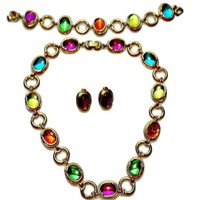 Bright Multi Color Necklace Earrings and Bracelet Bezel Set Lucite Cabochons Pink Orange Green Yellow in Gold Tone