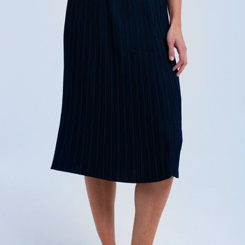Blue midi skirt with belt
