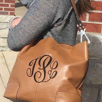 Monogram TAN Colored Purse Leather like Font shown MASTER CIRCLE in brown