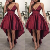 Fashion Women Sexy Deep V-neck Spaghetti Strap Sleeveless Formal Party Ball Gown Dress Sexy Womens Long Ball Gown Dresses
