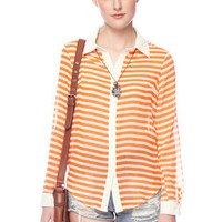 Stripened Button Down Shirt in Orange :: tobi
