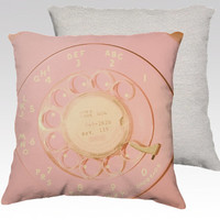 Pillow cover, cushion, vintage telephone, pink phone, dial phone, retro decor, throw pillows, office decor, square pillow