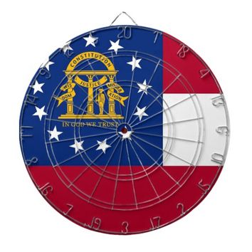 Dartboard with Flag of Georgia, USA