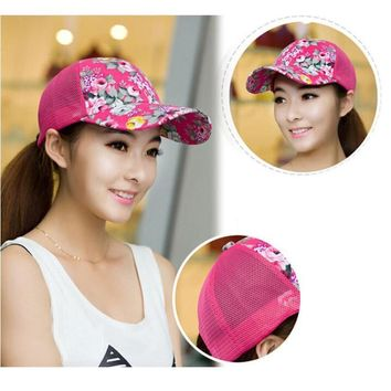 Womail 2017 New Fashion Baseball Hat Lady  Sun Hat  Shade Net Outdoor Floral Hat May11