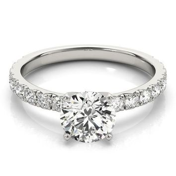 8.0mm ROUND MOISSANITE 14K WHITE GOLD4 PRONG 3/4 ETERNITY DIAMOND FRENCH PAVE ENGAGEMENT RING