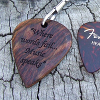Caribbean Rosewood Big Guitar Pick - Handmade Laser Engraved 2 Sided Design - Novelty Size Key Ring