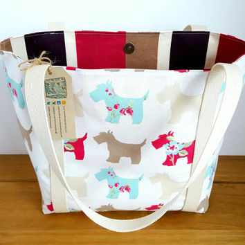Scottie Dog, Tote Bag, Fabric Bag, Knitting Bag. Overnight Bag, Over the Shoulder Bag, Animal Bag, Dog Lovers Gift,  Fabric Handbag