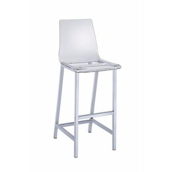 Elegant Acrylic Bar Height Stool with Chrome Base, Clear And Silver, Set of 2