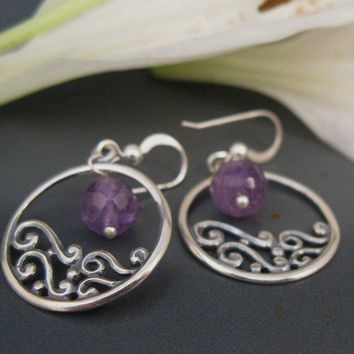 Delicate earrings, Amethyst  earrings, filigree hoop earrings in sterling silver, purple amethyst earrings