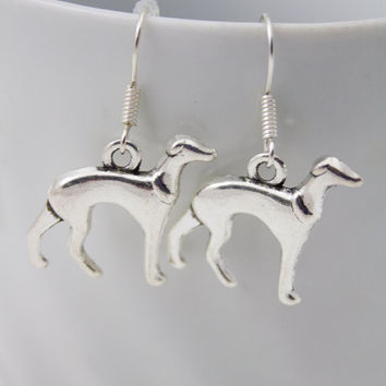 Silver Greyhound or Whippet Earrings - Dog Lover Jewelry, Animal Earrings