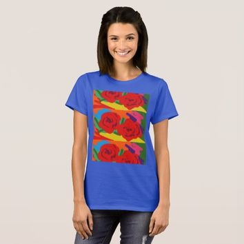 Bright red Roses on a blue tee... T-Shirt