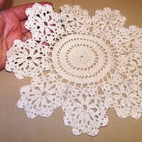 Ecru Crocheted Round Doily, Table Centrepiece, Tray Cloth, Coaster, Beige, Handmade Doily, Crocheted Doily, Scalloped Edge, Taupe, 0503