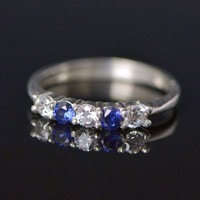 Christmas In July Blue and White CZ Ring - Sterling Silver Ring - Gemstone Jewelry - White Gemstone - Blue Ring - CZ Jewelry
