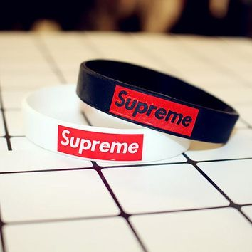 DCCKVQ8 Supreme' Personality Fashion Sports Energy Rubber Letter Unisex Bracelet Couple Silica Gel Bracelet Wristbands