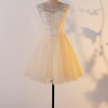 Patchwork Grenadine Lace Pleated Elegant Tutu Homecoming Mini Dress