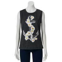 Awake Daisy Anchor Muscle Tee - Juniors, Size: