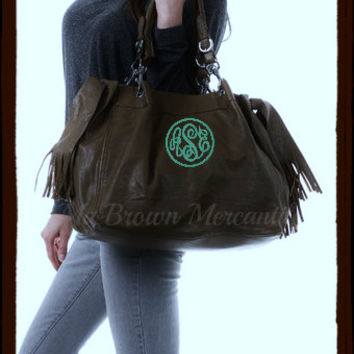 Monogrammed Brown Fringe Hobo Satchel Handbag - Personalized Purse - Pocketbook - Monogram Faux Leather