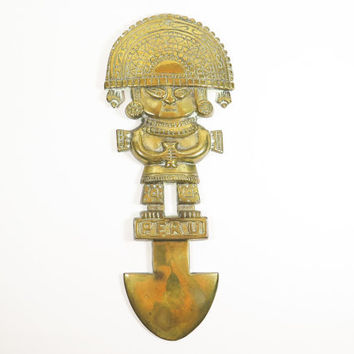 Brass Peruvian Incan Warrior Wall Hanging