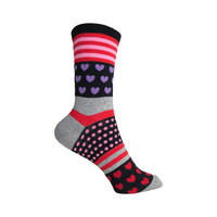 Hearts, Stripes and Dots Crew Socks in Black
