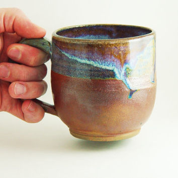 "16 ounce oz Unique Coffee Mug \ Beer Stein \ Tea Cup X Large Handled pottery, Rusty Brown & Blue, ""Lion's Share"", Wheel Thrown ceramic"